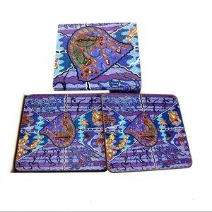 New In Box Set 6 Coasters Bulurru Artist Doyle